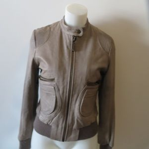 DOMA TAUPE LEATHER BOMBER JACKET SIZE S